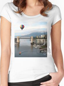 TRAVELING AROUND THE WORLD IN A BALOON, by E. Giupponi Women's Fitted Scoop T-Shirt