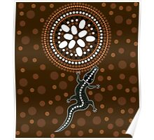 An illustration based on aboriginal style of dot painting depicting crocodile Poster