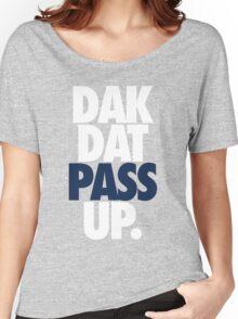 Dak Dat Pass Up. (WHITE/BLUE) Women's Relaxed Fit T-Shirt