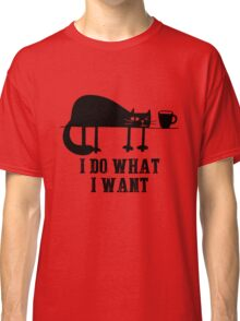 I Do What I Want Funny Black Cat Needs Coffee T-Shirt T-Shirt Classic T-Shirt
