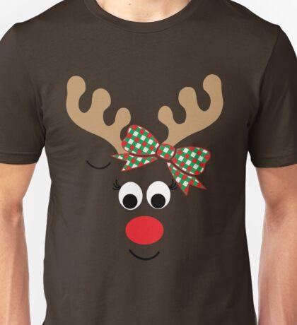 Reindeer Face - Girl bow Unisex T-Shirt