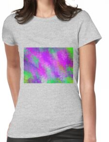 purple pink and green flowers abstract background Womens Fitted T-Shirt