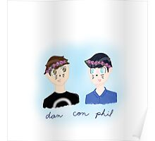 Dan and Phil Flower Crown Boys Poster