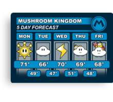 Mushroom Kingdom 5 Day Weather Forecast Canvas Print