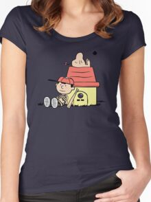 Earthbrown: A Boy and his Saturn Women's Fitted Scoop T-Shirt