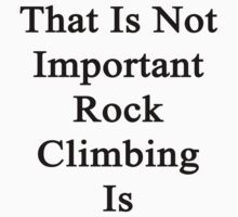 That Is Not Important Rock Climbing Is  by supernova23