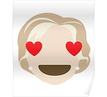 "Hillary ""The Emoji"" Clinton Heart and Love Eyes Poster"