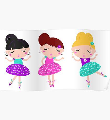 New! Little cute balerina kids characters Poster