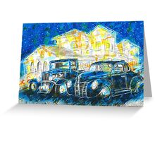 1932 Chevy Truck VS 1940 Ford Deluxe Coupe Greeting Card