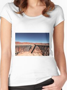 bridge in the desert with blue sky Women's Fitted Scoop T-Shirt