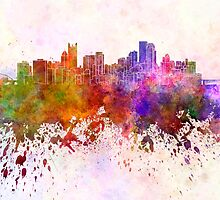 Pittsburgh skyline in watercolor background by paulrommer
