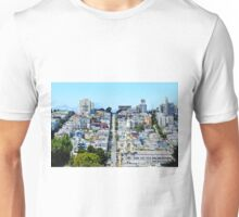 road and buildings with blue sky Unisex T-Shirt