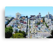 road and buildings with blue sky Canvas Print