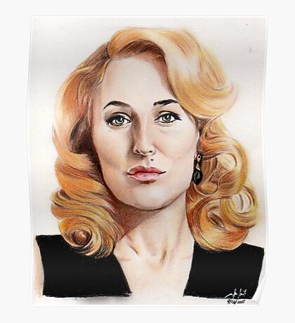 Gillian Anderson color pencil Poster
