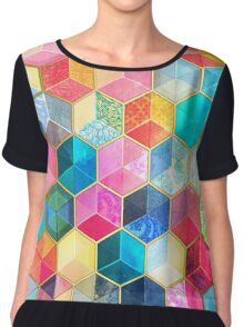 Crystal Bohemian Honeycomb Cubes - colorful hexagon pattern Chiffon Top