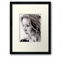 Gillian Anderson charcoal Framed Print