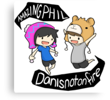 Amazingphil & Danisnotonfire cartoon Canvas Print