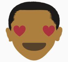 """Barack """"The Emoji"""" Obama Heart and Love Eyes Kids Tee"""