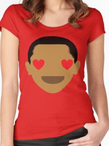 "Barack ""The Emoji"" Obama Heart and Love Eyes Women's Fitted Scoop T-Shirt"