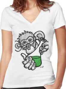 Lab Monkey Women's Fitted V-Neck T-Shirt