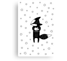 Little Fox And Snowfall Canvas Print