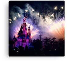 Sleeping Beauty's castle with Fireworks Canvas Print