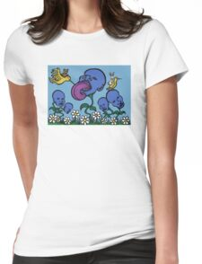 Teddy Bear And Bunny - Blueberry Flower Heads Womens Fitted T-Shirt