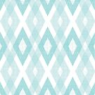 Turquoise Geometric Diamond Check Pattern by B Rush