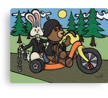 Teddy Bear And Bunny - Easy Rider Canvas Print