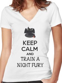 Keep Calm and Train a Night Fury Women's Fitted V-Neck T-Shirt