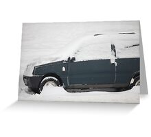 small car under snow Greeting Card