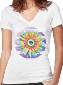 MYSTICAL ALL SEEING DAISY Women's Fitted V-Neck T-Shirt