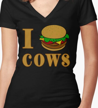 I Burger Cows Women's Fitted V-Neck T-Shirt
