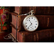 Old Books With Pocket Watch Photographic Print