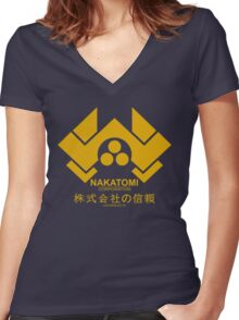 Nakatomi Corporation Women's Fitted V-Neck T-Shirt