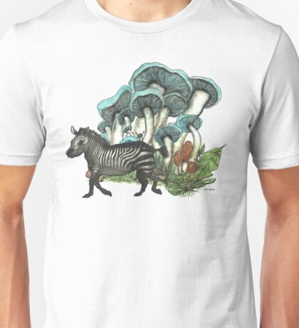 Dancing Zebra Losts in Blue Dizzy Fungi Forest Unisex T-Shirt