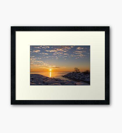 Cold Beauty - Frigid Winter Sunrise on the Lake Framed Print