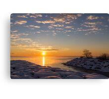 Cold Beauty - Frigid Winter Sunrise on the Lake Canvas Print