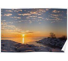 Cold Beauty - Frigid Winter Sunrise on the Lake Poster