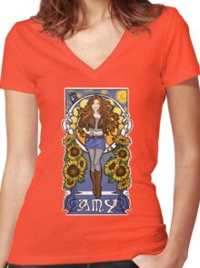 The Girl Who Waited (Amy under a Van Gogh sky) Women's Fitted V-Neck T-Shirt
