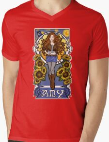 The Girl Who Waited (Amy under a Van Gogh sky) Mens V-Neck T-Shirt