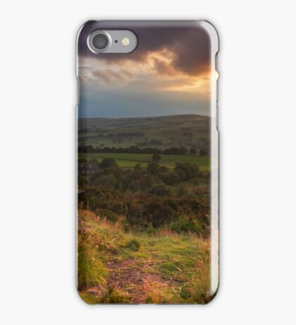 Sunset over Norland moor, Halifax , West Yorkshire iPhone Case/Skin
