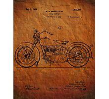 Motorcycle Patent 1925 Photographic Print