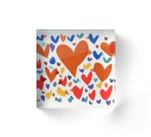 Pattern birds and hearts Acrylic Block