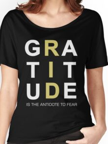 Gratitude Grateful Thank Life Quote Sentence Text Women's Relaxed Fit T-Shirt