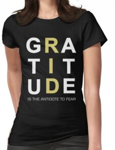 Gratitude Grateful Thank Life Quote Sentence Text Womens Fitted T-Shirt