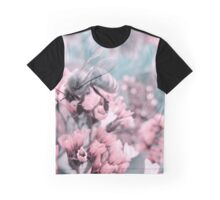 Bumble Bee on Pastel Pink Flowers Graphic T-Shirt