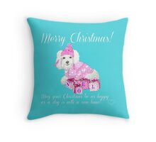 Merry Christmas from the dog / Bichon / Maltese / Bolognese Throw Pillow