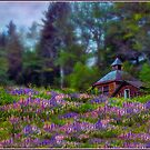 Cabin in the Lupine by Wayne King