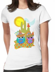 Cute Sombrero Owls, patterns and  Parrots Womens Fitted T-Shirt